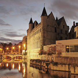 Gent  by Stephanie Veronique - City,  Street & Park  Historic Districts ( gent, water, reflection, belgium, architecture, landscape, evening, street lights, city, river )