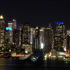 NYC skyline at night by Ayyappan Nair - City,  Street & Park  Skylines