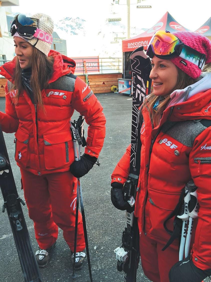 Ski instructors Elisa von Stappen and Gaelle Nachon
