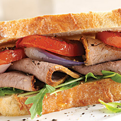 Roast Beef, Seared Tomato and Basil Sandwich