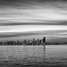 Seattle Skyline  by Brad Larsen - City,  Street & Park  Skylines ( water, black and white, cloudscape, cityscape, landscape,  )