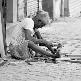 Carpenter by DrArindam Ghosh - People Street & Candids ( street candids, black and white, street, bw, street photography )