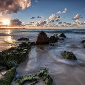Burst by Steve Badger - Landscapes Beaches ( queensland, sunset, australia, kirra, beach, rocks,  )