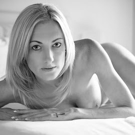 Look  by Jason Elphick - Nudes & Boudoir Boudoir ( breast, blonde, nude, black and white, soft, eyes )