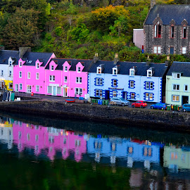 Tobermory Homes by Wendy Milne - City,  Street & Park  Historic Districts ( colourful, tobermory, reflections, mull, homes )