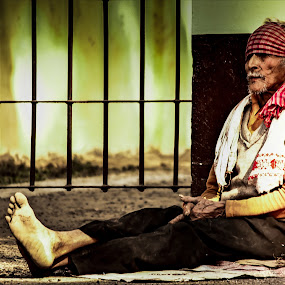 old man by Pranjeet Sonowal - People Portraits of Men ( sitting, old man, dusk, evening, portrait )