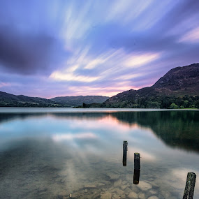 First Light on the Lake by Andy Young - Landscapes Waterscapes ( uk, cumbria, posts, long exposure, sunrise, ullswater, lake district )