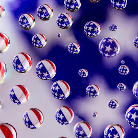 Stars, Stripes and Drops by Zev Steinhardt - Abstract Water Drops & Splashes ( water, circles, flag, red, america, patriotic, blue, drops, white, focus, refraction, usa )
