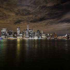 Manhattan at night by Rusty Goris - City,  Street & Park  Skylines ( skyline, manhattan, night, nyc, city )