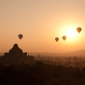Balloons over Bagan Sunrise by Black Mutant - Landscapes Travel ( myanmar, pagoda, an, sunrise )