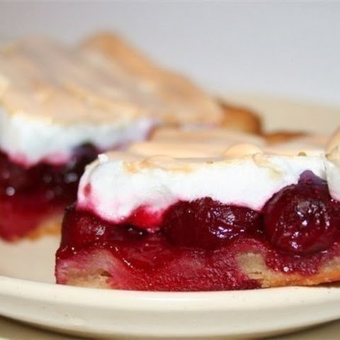 Cake With Cherries And Meringue