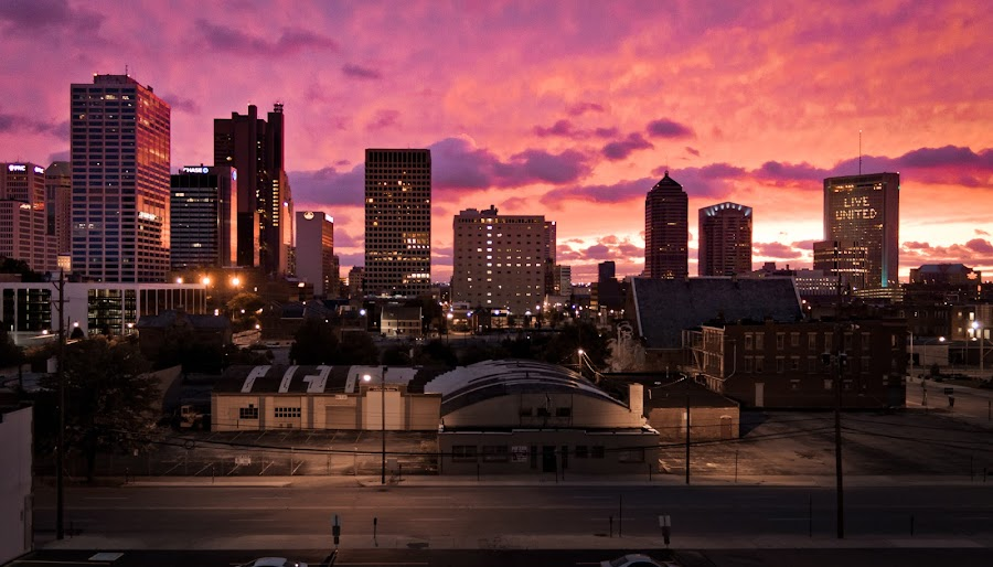by Justin  Marimon - City,  Street & Park  Vistas ( columbus, skyline, ohio, sunset, landscape, evening, downtown, city )