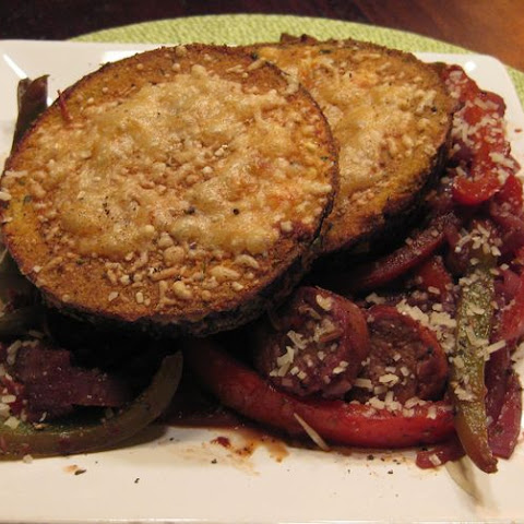 Crispy Eggplant with Pepper and Sausage Ragu