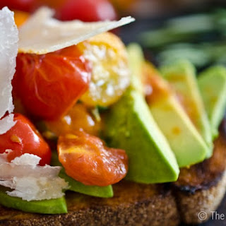 Tomato Avocado Toast with Shaved Parmesan