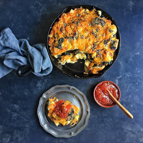 Black Kale, Butternut Squash & Cheddar Strata with Homemade Tomato Jam
