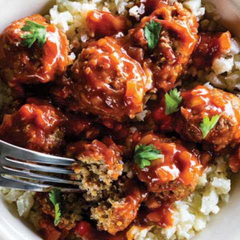 Beef Quinoa Mini Meatballs with Spiced Pomegranate Sauce & Mashed Cauliflower