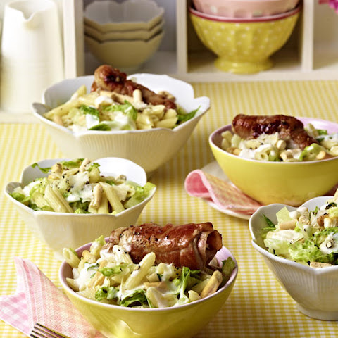Caesar Pasta Salad with Saltimbocca Rolls