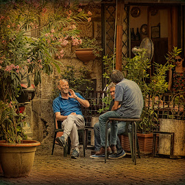 Rome. Men's talking after Mangiare by Eugene Goldin - City,  Street & Park  Street Scenes ( rome, trastevere, color, street scene, lanch time )