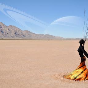 Mars Queen by Aaron Blackburn - Digital Art Places ( scream, mars, desert, lava, woman, burning,  )