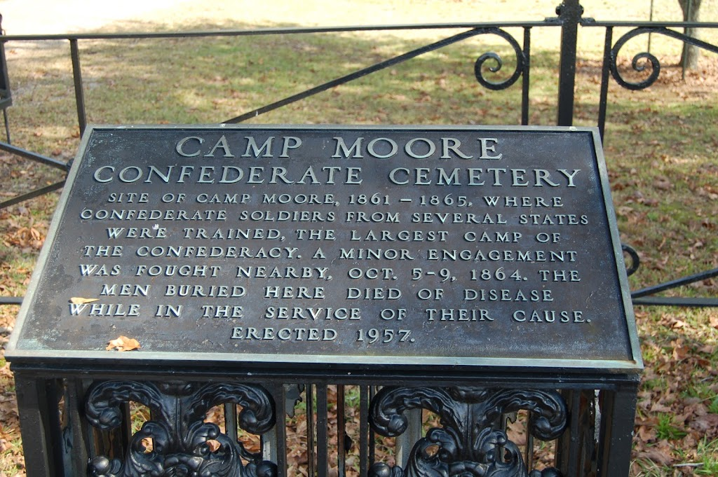 Site of Camp Moore, 1861-1865, where Confederate soldiers from several states were trained, the largest camp of the Confederacy. A minor engagement was fought nearby, Oct 5-9, 1864. The men buried ...