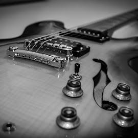 Guitar4-35mm-Handheld-B&W by Steve Bennett - Black & White Objects & Still Life ( b&w, black and white, white, guitar, black,  )