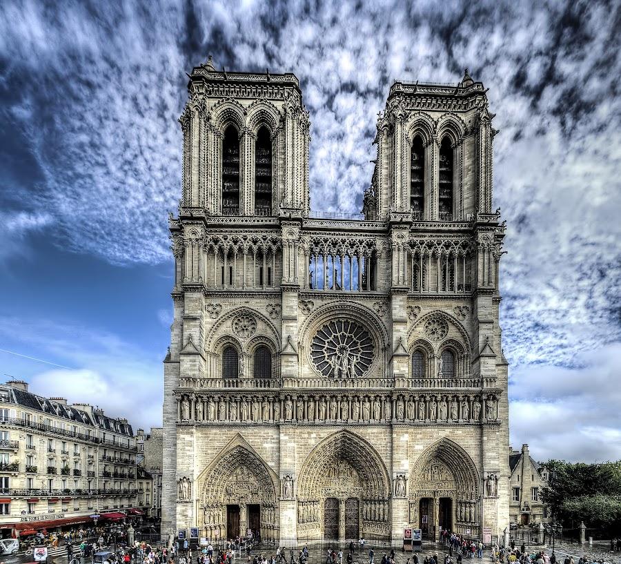 Notre Dame - Paris by Kim  Schou - Buildings & Architecture Architectural Detail ( landmark, paris, famous landmarks, tower, kim schou, hdr, notre dame, church, travel,  )