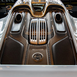 Porsche 918 by Steve Kazemir - Transportation Automobiles ( car, detail, engine, silver, porsche, back )