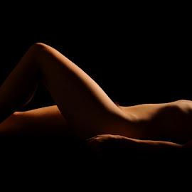 Shadow Blanket by DJ Cockburn - Nudes & Boudoir Artistic Nude ( studio, recline, art nude, lying, horizontal, silhouette, naked, woman, helen diaz, shadows, curves )