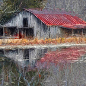 Barney Life by Allen Crenshaw - Painting All Painting ( barn, serenity, sunset, painting, rural )