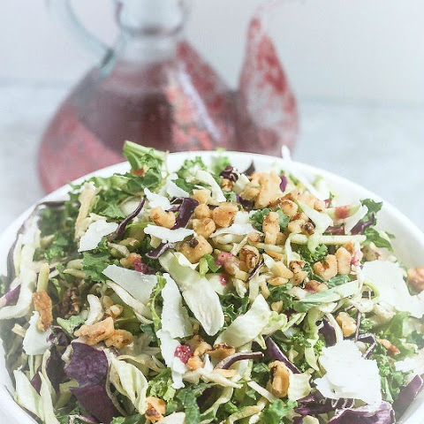 Kale and Brussels Sprout Salad with Blackberry Green Tea Vinaigrette