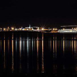 Esbjerg skyline by Froddy Baun - City,  Street & Park  Skylines ( reflection, skyline, fanø, vaddensea, denmark, esbjerg, citylights,  )