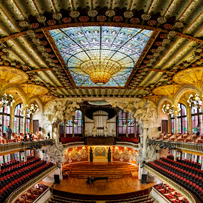 Palace of Catalan Music, Barcelona by Kah Wai Lin - Buildings & Architecture Public & Historical ( music, digital blending, concert, fisheye, hall, exposure fusion, hdr, catalan, palace, dynamic range increase, barcelona, spain )