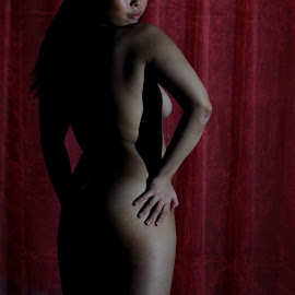 Glare from the Red by DJ Cockburn - Nudes & Boudoir Boudoir ( rear view, model, art nude, nude, oriental, home shoot, off-camera flash, chinese, asian, cece, woman, naked, standing )