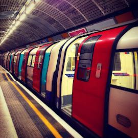 London Tube by Kenneth Spaberg - Transportation Trains ( london, tube, metro, train, perspective, transportation, underground )