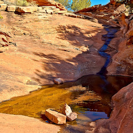 Robbers Bath by Steven Love - Landscapes Travel ( water, landmark, famous, pool, legendary, arizona, robbers roost butte, sandstone, sedona )