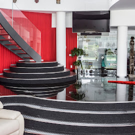 by Lucian Pirvu - Buildings & Architecture Homes ( railing, home, red, stairs, glass, black, stainless steel,  )