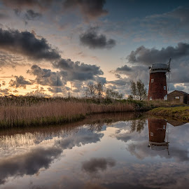 Horsey Windpump by George Johnson - Landscapes Waterscapes ( water, england, uk, reflection, dawn, sunrise, windmill )