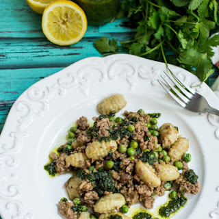 Gnocchi with Lamb, Peas and Parsley Mint Pesto
