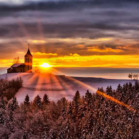 THE DAY IS COMING by Stane Gortnar - Landscapes Sunsets & Sunrises ( church, slovenia, st primoz church, jamnik, sunrise, landscape,  )