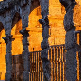 Arena in sunset by Miranda Legović - Buildings & Architecture Architectural Detail ( Monochromatic, color, one, tone, tones,  )