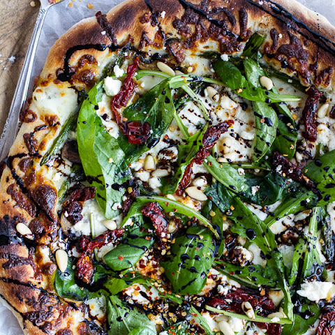 Spring Time Mushroom + Asparagus White Burrata Cheese Pizza with Balsamic Drizzle.