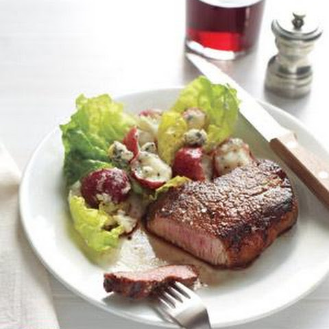 Steak With Potato and Blue Cheese Salad