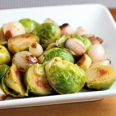 Braised Brussels Sprouts with Roasted Balsamic Onion Pearls