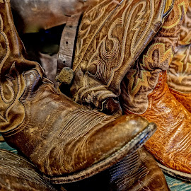 Cowboy Heaven by Barbara Brock - Artistic Objects Clothing & Accessories ( cowboy boots, men's shoes, old boots, men's footwear, brown boots )
