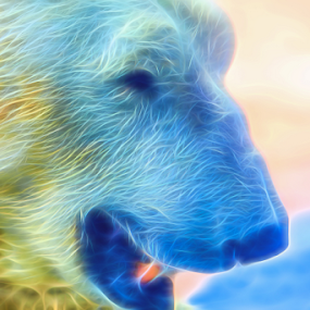 Ethereal Bear by Ray Shiu - Digital Art Animals ( abstract, fine art, canvas, fauna animal, print, derivative, cold, nature, neon, poster, artistic, hot, rendition, polar bear, global warming )
