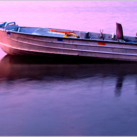 Sunrise Boat by Wayne Harlech-Jones - Transportation Boats ( placid, calm, water, shades, motor, tinny, pink, lake, sunrise, boat, row, relax, tranquil, relaxing, tranquility,  )