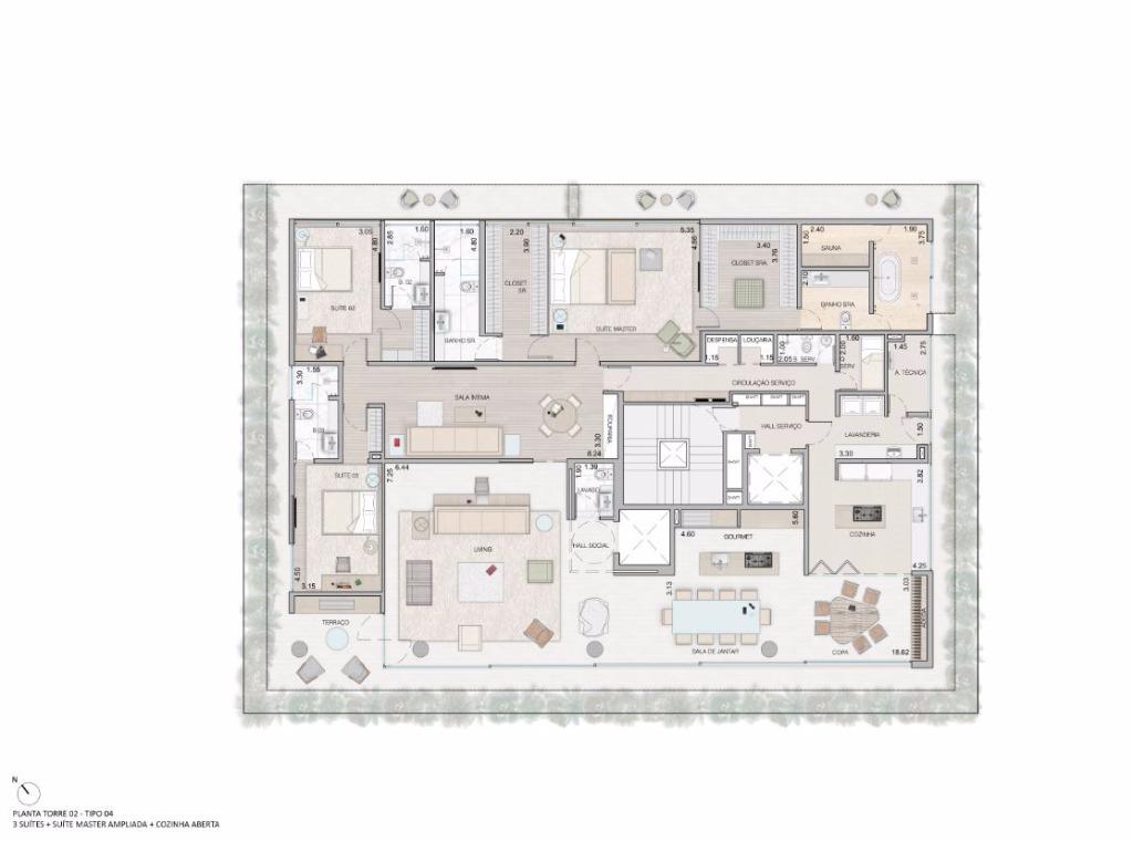 Planta Opção - 4 Suítes Máster Ampliada e Cozinha Aberta - 459 m²