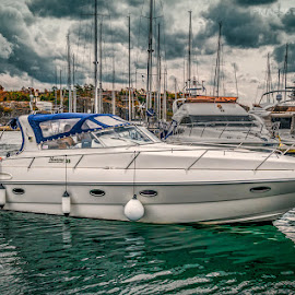 Strömstad, Sweden 008 - Speed Boats at the Sea by IP Maesstro - Transportation Boats ( water, clouds, sweden, ip maesstro, hdr, stromstad, summer, sea, boat )