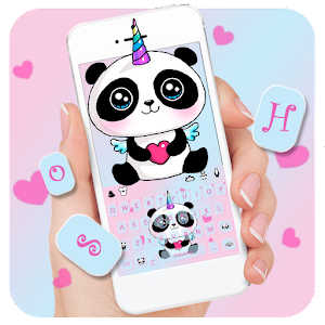 Cute Panda Unicorn Keyboard Theme