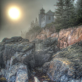 by John Vreeland - Digital Art Places ( maine, fog, lighthouse )
